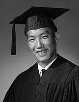 [Mark Yamazaki, Ephebian award recipient at Los Angeles High School, head and shoulder portrait, Los Angeles, California, June 5, 1961]