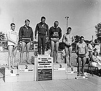 [Japanese swim team at 1961 National AAU Swim Meet, Los Angeles, California, May 31, 1961]