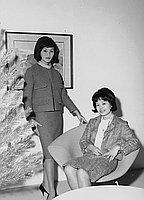[Designer Iris Teragawa with fashion model, California, December 7, 1961]