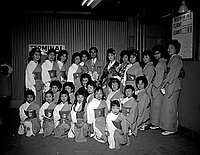 [Chiyonosuke Azuma with Banto Misa group at Los Angeles International Airport, Los Angeles, California, January 14, 1962]