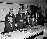 [Tsumoru Tanaka named Beikoku Honinbo sen at Go championship at the Gokaisho in Sun building, Los Angeles, California, March 18, 1962]