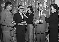 [Nisei Republicans for Nixon at Radio Little Tokyo office of Matao Uwate, Los Angeles, California, October 3, 1962]