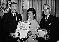 [Los Angeles Mayor Sam Yorty presenting Matsushita Day certificate to Mr. and Mrs. Konosuke Matsushita at Los Angeles City Hall, Los Angeles, California, May 15, 1963]