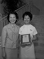 [Kathie Miyake, Carver award plaque recipient, at Carver Junior High School, Los Angeles, California, June 21, 1963]