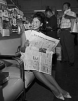 [Noriko Ando, Miss Universe contestant of Japan, visits L.A. Sporting Goods, Los Angeles, California, August 3, 1963]