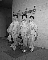 [Hobu dance group in front of Rafu Shimpo, Los Angeles, California, September 14, 1963 and Naniwa Bushi group in front of Rafu Shimpo building, Los Angeles, October 2, 1963]