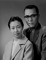 [Mr. and Mrs. Ono, half-portrait, Los Angeles, California, 1963]
