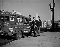 [Waseda University students from Japan and jeep, Los Angeles, California, January 14, 1964]