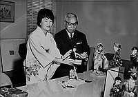 [Doll making exhibition at Japanese Chamber of Commerce, Los Angeles, California, December 10, 1964]