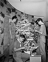 [Los Angeles Boy Scout Troop 197 decorating Christmas tree, California, 1964]