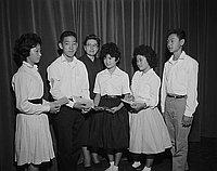 [Berendo Junior High School students receiving awards, Los Angeles, California, ca. 1950-1964]