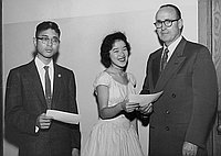 [Two students receiving awards at Maryknoll School, Los Angeles, California, ca. 1950-1964]