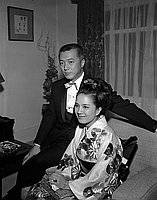 [Hiroshi Teshigawara and Toshiko Kobayashi at Academy Awards, Santa Monica, California, April 4, 1965]