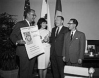 "[Actress Nobu McCarthy promoting ""Chushingura"" at Mayor's office in Los Angeles City Hall, Los Angeles, California, April 28, 1965]"