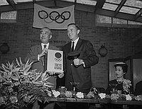 [Tsunenori Takeda and Paul Helms, Jr. at Helms Athletic Foundation, Los Angeles, California, May 6, 1965]