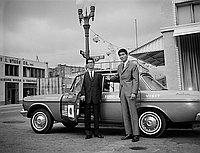 [Takeuchi brothers with Tokyo USA Friendship automobile, Los Angeles, California, September 16, 1965]