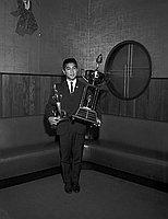 [Oliver trophy award presentation to outstanding athlete, Makoto Sakamoto, at Kawafuku restaurant, Los Angeles, California, November 6, 1965]
