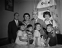[Thomas Abe with adoptees from Japan, California, August 19, 1965]