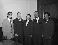 [Mayor Sam Yorty, Council man Ed Roybal and others at Los Angeles City Hall, Los Angeles, California, 1965]
