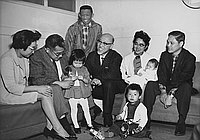 [Thomas Abe and families with adoptees from Japan, California, April 19, 1966]