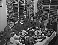 [Hashida Group at Kawafuku restaurant, Los Angeles, California, January 18, 1950]