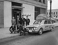 [Japanese car to caravan North and South America in front of Rafu Shimpo building, Los Angeles, California, August 3, 1966]