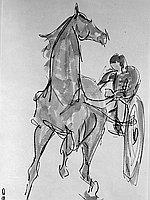 [Harness racing sumie painting, Inglewood, California, November 1966]