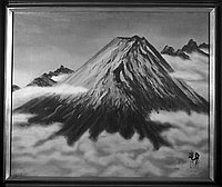 [Paintings of a Mt. Fuji in clouds and a castle, California, December 1966]