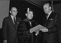 [Ibaraki Prefecture Governor receiving honorary law degree at Pepperdine University, Los Angeles, California, September 2, 1966]