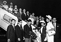 [Kagoshima-ken High School group at Los Angeles International Airport and banquet at Kawafuku restaurant, Los Angeles, California,July 1966]