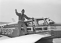 [Henry Ohye with Piper airplane on U.S.A.-Japan Goodwill flight , California, ca. 1966]