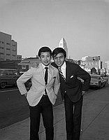 [Two Japanese singers, Koichi Fujimoto and Teruhiko Saigo, in front of Rafu Shimpo, Los Angeles, California, January 20, 1967]