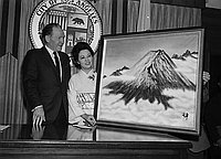 [Mt. Fuji painting presentation to Los Angeles Mayor Sam Yorty at City Hall, Los Angeles, California, April 12, 1967]