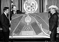 [Equestrian Center model at Los Angeles Mayor Sam Yorty office in City Hall, Los Angeles, California, April 12, 1967]