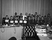 "[Los Angeles Supervisor Ernest E. Debs presenting ""Friendship Day"" proclamation to Boy Scouts, Los Angeles, California, July 27, 1967]"