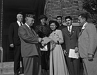 [Robert Louis Stevenson Junior High School students receiving American Legion school award, Los Angeles, California, January 25, 1951]