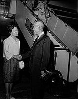 [United Nations Ambassador from Japan, Senjin Tsuruoka, at airport, Los Angeles, California, July 31, 1967]