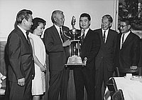 [Oliver trophy award presentation to Martin Nakazawa, outstanding athlete at Rudi's restaurant, Los Angeles, California, October 8, 1967]