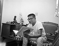 "[Taro Yashima reading ""Seashore story"", Los Angeles, California, October 24, 1967]"