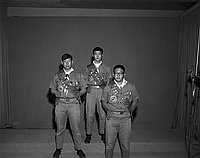 [Three Eagle Scouts of Troop 41, full portrait, Los Angeles, California, November 11, 1967]