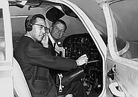 [Kenji Ito taking pilot license test with Piper Cherokee 140 airplane, California, February 11, 1967]