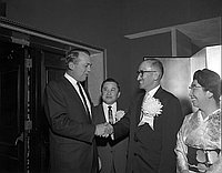 "[Japan Air Lines President Shizuma Matsuo at the ""Around the World service"" inauguration reception held at the Statler Hotel, Los Angeles, California, February 24, 1967]"