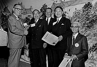 [Sister City delegation from Japan receiving proclamation from Huntington Park Rotary Club, California, January 29, 1968]