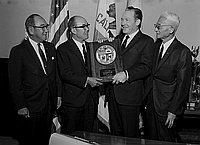 [Honda Motors at office of Los Angeles Mayor Sam Yorty at Los Angeles City Hall, Los Angeles, California, January 30, 1968]
