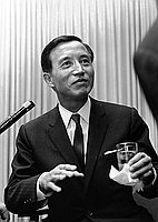 "[Mr. Noboru Nakamura, director of Shochiku film, ""Portrait of Chieko"" at airport, California, April 4, 1968]"