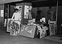 [Hideki Sakaguchi, Japanese horse artist from Japan, at Japanese Gift and Art Center, Los Angeles, California, April 7, 1968]