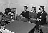 [Mizu Tatematsu interviewing Japanese writers for Homecast Los Angeles radio station in Masago Hotel, California, May 3, 1968]
