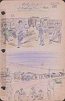 Shoveling sand at Lordsburg Town back, 3-12-43 9 AM