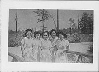 [Five candy stripers on bridge, Rohwer, Arkansas, September 19, 1944]