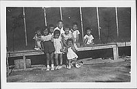 [Group of children in front of barracks, Rohwer, Arkansas]